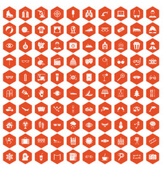 100 glasses icons hexagon orange vector image vector image