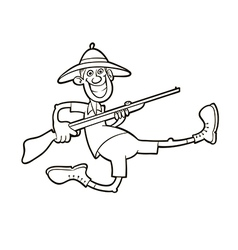 Hunter with rifle vector