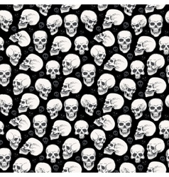Skull halloween seamless monochrome pattern vector