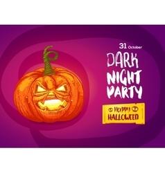 Jack pumpkin night party invitation vector image