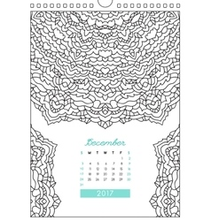 calendar 2017 for coloring vector image