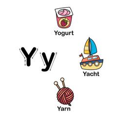 Alphabet letter y-yogurt yacht yarn vector