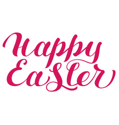 Happy easter red lettering text for greeting card vector