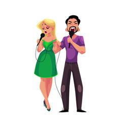 man and woman singing into microphones karaoke vector image