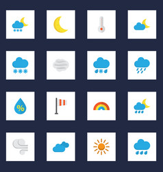 Meteorology flat icons set collection of moon vector