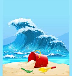 Scene with big wave and beach vector
