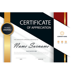 Gold elegance horizontal certificate template vector
