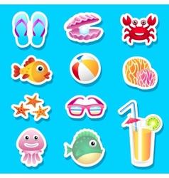Beach stickers vector image
