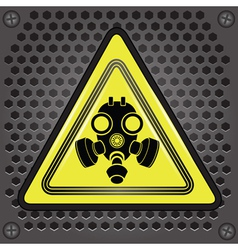 Yellow gas mask sign vector