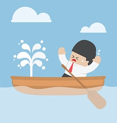 Panic businessman with leaking boat vector