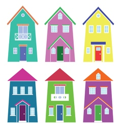 Set of six two-floor houses vector