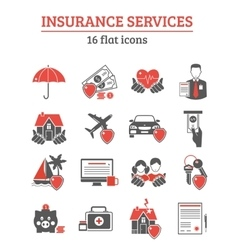 Insurance services icons set vector
