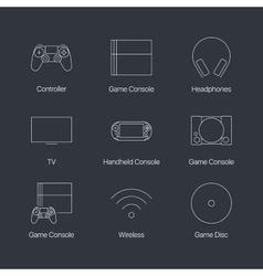 Thin line video game console linear icons set vector