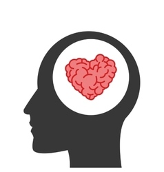 Heart shaped brain inside human head vector