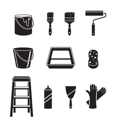 Painter Tools Objects Icons Set Monochrome vector image