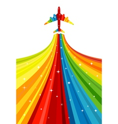 Background with rainbow airplane vector image vector image