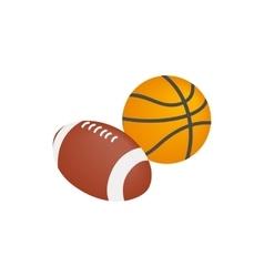 Basketball ball and rugby ball icon vector image