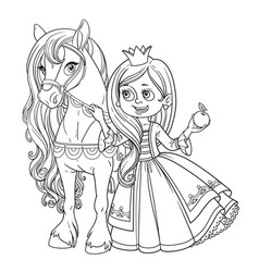 beautiful princess with horse outlined picture for vector image