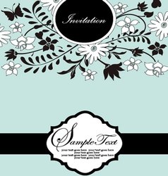 Blue floral card with place for text vector