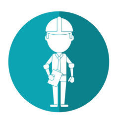 Business man construction clipboard helmet shadow vector