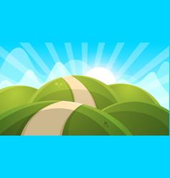 Cartoon landscape sun cloud hill vector