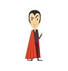 Count dracula angry vampire in suit and red cape vector