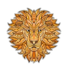 Detailed colored lion in aztec style patterned vector