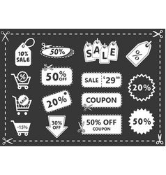 discount icons set shopping and discount coupons vector image vector image
