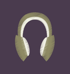 Flat shading style icon headphones stereo vector