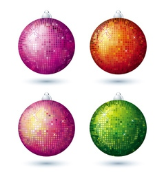 Four christmas disco ball over white background vector