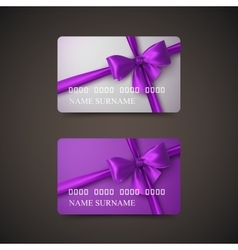 Gift Cards With Purple Bow And Ribbon vector image vector image