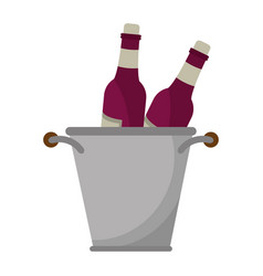 glass bottles wine bucket vector image