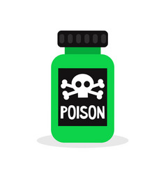 green bottle with a poison sign flat editable vector image vector image