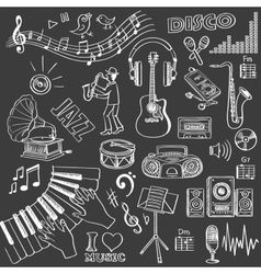 Hand drawn music set vector image