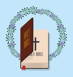 Holy bible wedding flower decoration vector