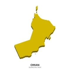 Isometric map of oman detailed vector