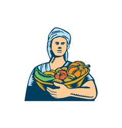 Lady organic farmer produce harvest woodcut vector