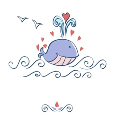 Little whale with hearts card design vector image vector image