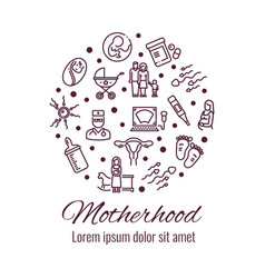 Motherhood thin line icons round concept vector