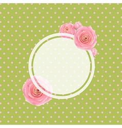 Pink rose label and green background vector