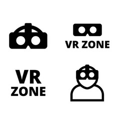 set of flat vr icons vector image vector image