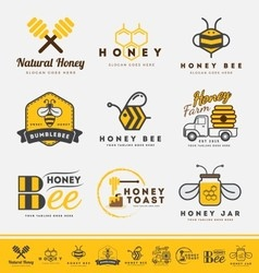 Set of honey bee logo and labels for honey product vector