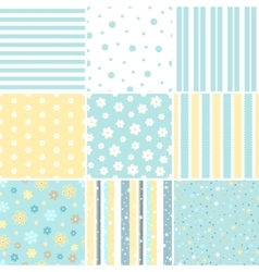 Set of seamless patterns with flower star polka vector