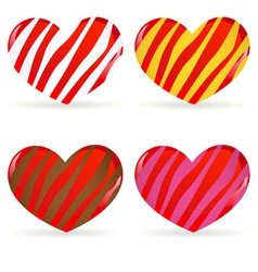 set of striped hearts vector image