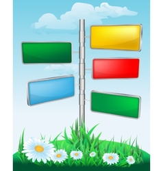 Signpost on the meadow with flowers vector