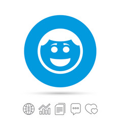 smile face icon smiley with hairstyle symbol vector image
