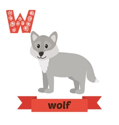 Wolf W letter Cute children animal alphabet in vector image vector image