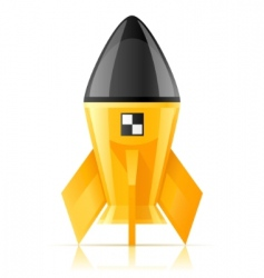 Yellow cosmic rocket vector