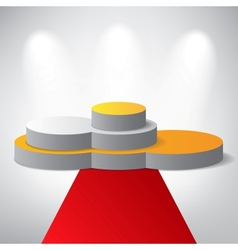 White podium on grey background vector