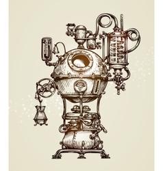 Vintage distillation apparatus sketch moonshining vector